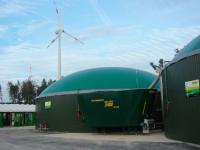 Windenergie liefert Betriebsstrom f�r die Biogasanlage.